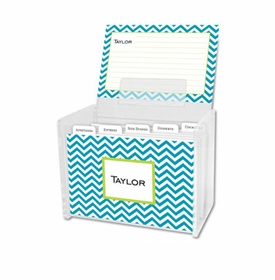 boatman geller chevron turquoise recipe box