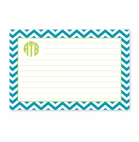 boatman geller chevron turquoise recipe card