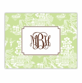 boatman geller chinoiserie green foldover note cards