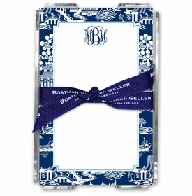 boatman geller chinoiserie navy acrylic note sheets