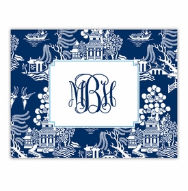 boatman geller chinoiserie navy foldover note cards