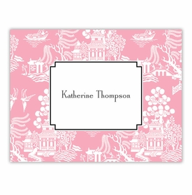 boatman geller chinoiserie pink foldover note cards
