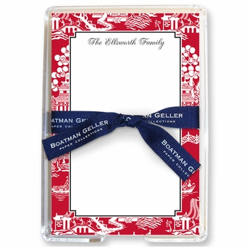 boatman geller chinoiserie red acrylic note sheets