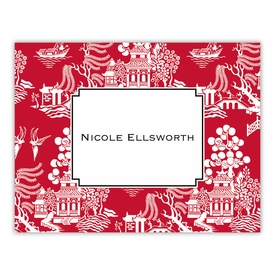 boatman geller chinoiserie red foldover note cards