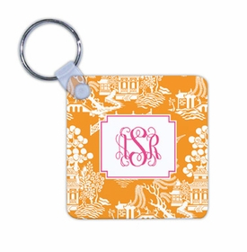 boatman geller chinoiserie tangerine key chain