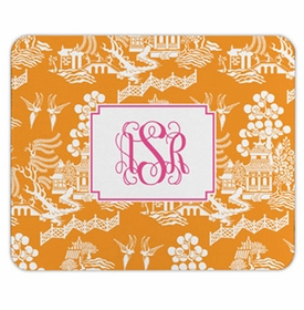boatman geller chinoiserie tangerine mouse pad