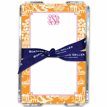 boatman geller chinoiserie tangerine note sheets in acrylic note sheets
