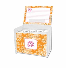 boatman geller chinoiserie tangerine recipe box