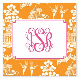 boatman geller chinoiserie tangerine square sticker