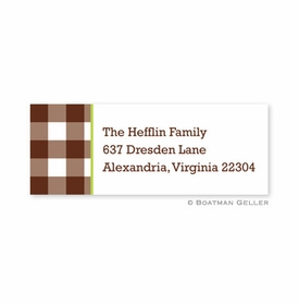 boatman geller classic check chocolate address labels