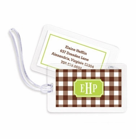 boatman geller classic check chocolate bag tags