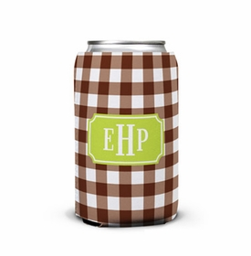 boatman geller classic check chocolate can koozie
