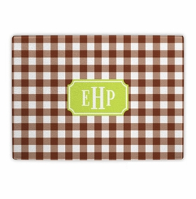 boatman geller classic check chocolate cutting board