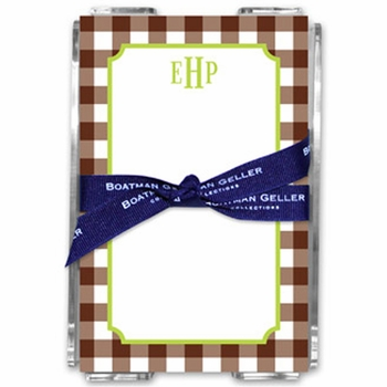 boatman geller classic check chocolate note sheets in acrylic note sheets