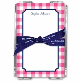 boatman geller classic check raspberry acrylic note sheets