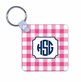 boatman geller classic check raspberry key chain