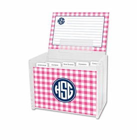 boatman geller classic check raspberry recipe box