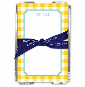 boatman geller classic check sunflower note sheets in acrylic note sheets