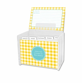 boatman geller classic check sunflower recipe box