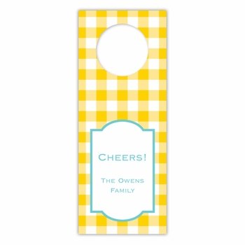 boatman geller classic check sunflower wine tags
