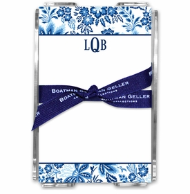 boatman geller classic floral blue acrylic note sheets