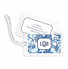 boatman geller classic floral blue bag tags
