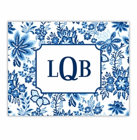boatman geller classic floral blue foldover note cards