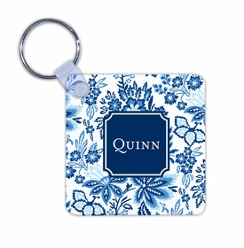 boatman geller classic floral blue key chain