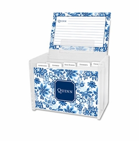 boatman geller classic floral blue recipe box