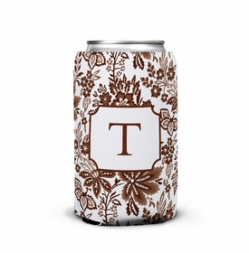 boatman geller classic floral brown can koozie