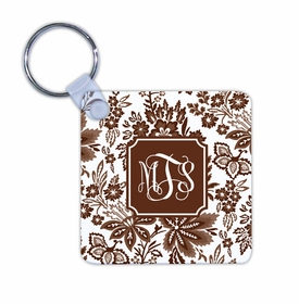 boatman geller classic floral brown key chain