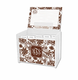 boatman geller classic floral brown recipe box
