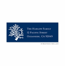 boatman geller coral repeat navy address labels
