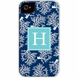 boatman geller coral repeat navy cell phone case