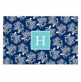 boatman geller coral repeat navy placemat