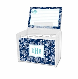 boatman geller coral repeat navy recipe box