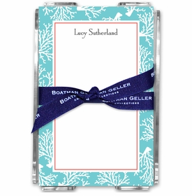 boatman geller coral repeat teal acrylic note sheets
