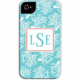 boatman geller coral repeat teal cell phone case
