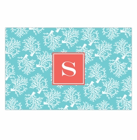 boatman geller coral repeat teal disposable placemats