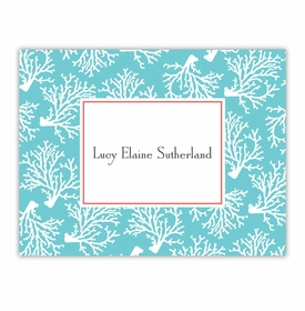 boatman geller coral repeat teal foldover note cards