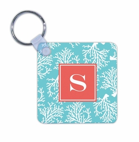boatman geller coral repeat teal key chain