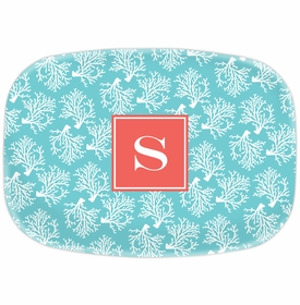 boatman geller coral repeat teal platter