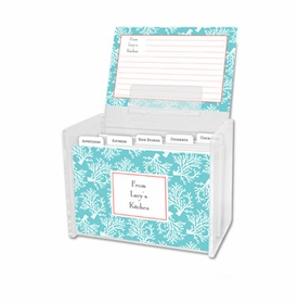 boatman geller coral repeat teal recipe box
