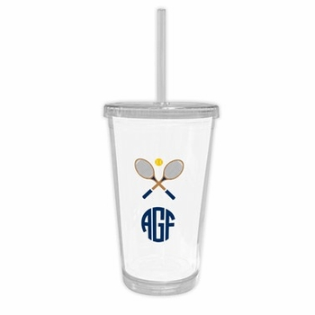 boatman geller crossed racquets beverage tumbler