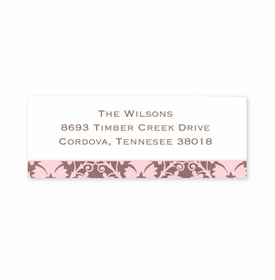 boatman geller damask pink & brown address labels