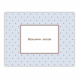 boatman geller dot blue with brown foldover note cards
