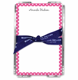 boatman geller dot pink acrylic note sheets