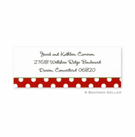boatman geller dot red with green address labels