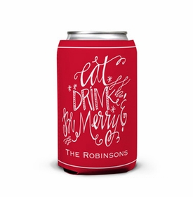 boatman geller eat drink be merry can koozie