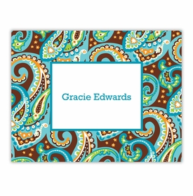 boatman geller ellie paisley turquoise & brown foldover notes